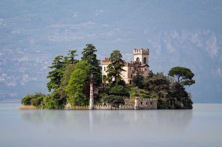 isola: Little island Isola di Loreto on Lake Iseo, Italy