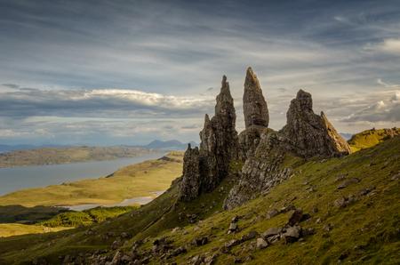 skye: Old Man of Storr rocks with cloudy sky, Isle of Skye, Scotland