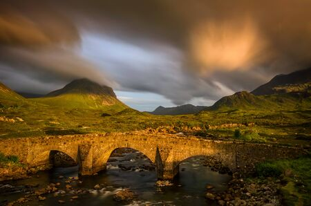 Glen Sligachan Bridge and Cuillin Mountains in sunset light, Isle of Skye, Scotland