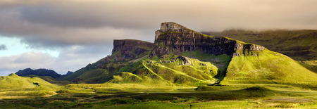 Sron Vourlinn in Quiraing group at Trotternish Ridge in sunset light, Isle of Skye, Scotland Stock Photo