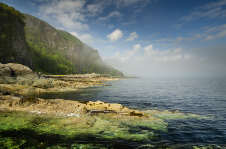 Rocky coast and cliffs of Loch Buie, Isle of Mull, Scotland