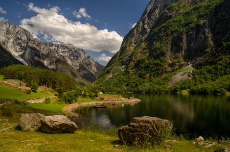 Vikings boat at Bakka village in Naeroyfjorden, Norway Stock Photo