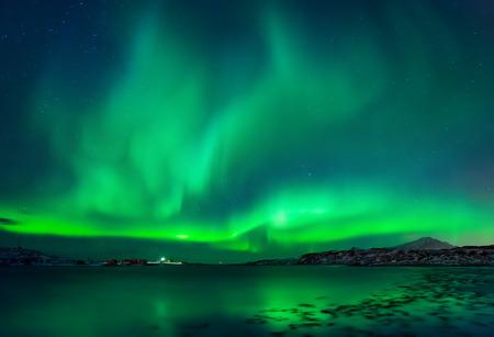 Aurora Borealis over Torvoya Island, Lofoten