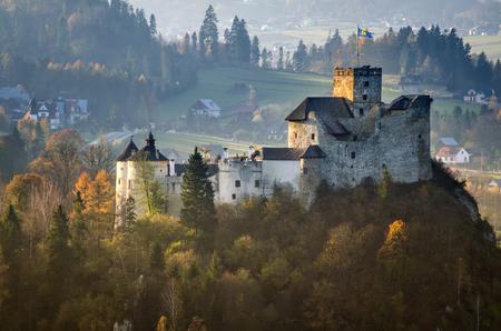 Niedzica Castle in Pieniny autumn mountains, Poland