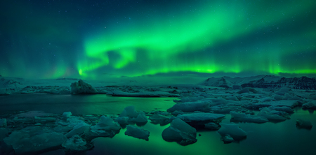 Aurora borealis above Jokulsarlon glacier lagoon, Iceland