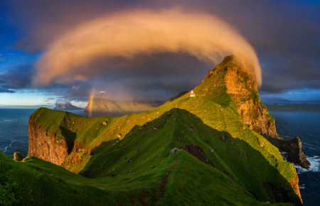 Kalsoy island and Kallur lighthouse in sunset light, Faroe Islands