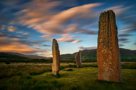 Machrie Moor Stones in sunset light, Isle of Arran, Scotland