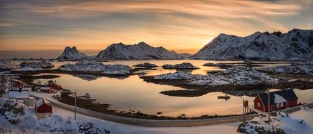 Panorama of Steinefjord in sunset light, Lofoten