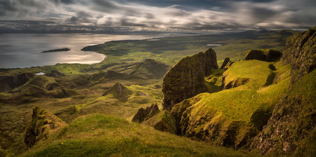 The Table in Quiraung group at Trotternish Ridge in morning light, Isle of Skye, Scotland 版權商用圖片