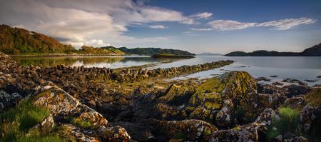 Rubha Fionnar shore in sunset light, Highlands, Scotland