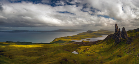 Panorama of Storr rock formations in cloudy sunset, Isle of Skye, Scotland