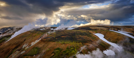 Panorama of Storihver springs cloudy area in sunset light, Iceland