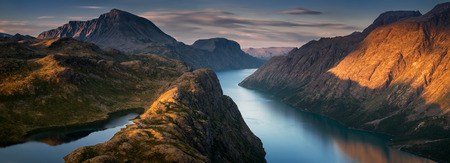 Panorama of Gjende Lake in Jotunheimen mountains, Norway