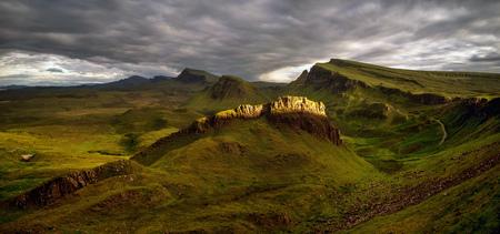 Trotternish Mountains on Isle of Skye in last sunset flash, Scotland