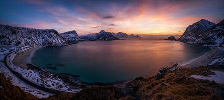 Vikbukta Bay with Vik Beach and Haukland Beach after sunset, Vestvagoya, Lofoten Фото со стока