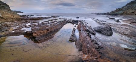 Panorama of unusual coastal rock formation near Meria, Corsica, France