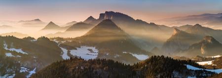 Fog in Pieniny mountains in sunset light, Poland