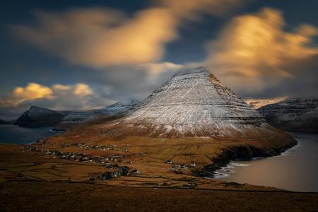 Vidareidi village on Vidoy Island with Malinsfjall mountain in background, Faroe Islands
