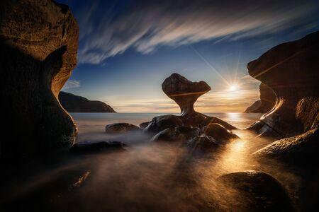 Kannestein Rock on Maloy island in sunset light, Norway