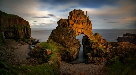 Carsaig Arches - rocks formation in sunset light, Isle of Mull, Scotland