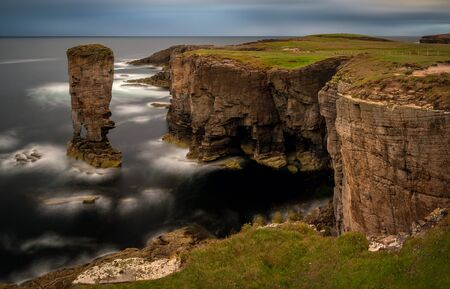 Yesnaby cliffs with Castle Rock, Orkney Islands, Scotland