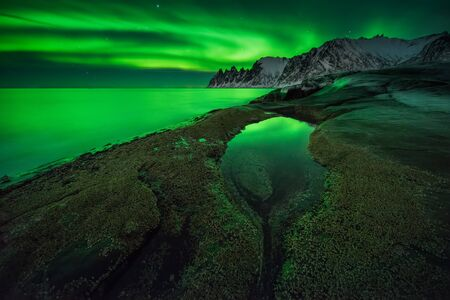 Aurora over Ersfjord with Okshornan mountains in background, Senja, Norway