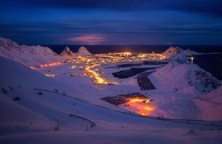 Sorland village on Vaeroy Island in winter night, Lofoten, Norway