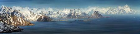 Panorama of Lofoten mountains archipelago in winter, Norway