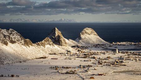 Sorland village on Vaeroy Island in sunny day, Lofoten, Norway