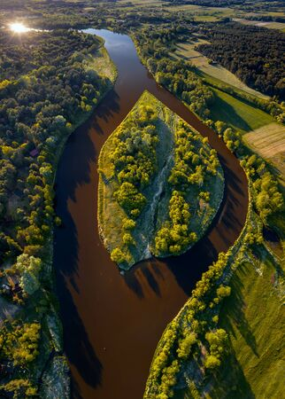 Aerial view of island on Narew River in sunny day, Poland Banque d'images
