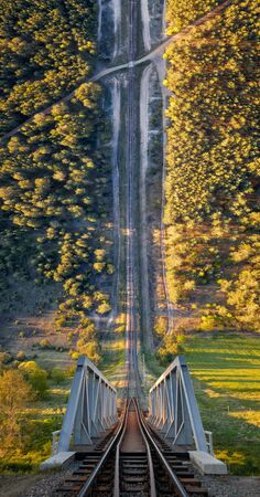 Railway with bridge among forest in warped perspective, Poland