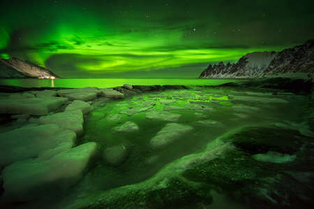 Aurora Borealis over float ice on Tugeneset rocky coast with mountains in background, Norway