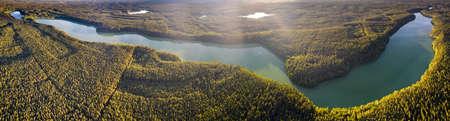 Panorama of Dluzek Lake on Mazury from drone, Poland