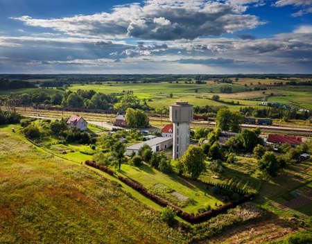 Water Tower in Czerwonka village on Mazury, Poland