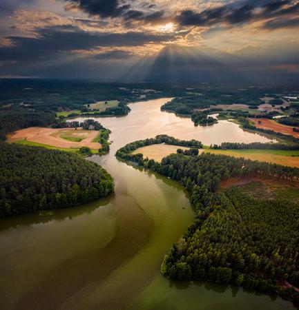 The lakes on polish kayak route Zbrzyca, Poland