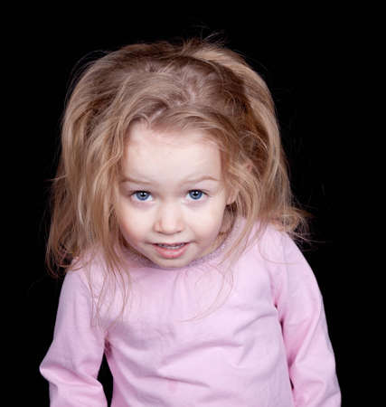 silliness: A child not listening to what there parent says.  She is giving a look of disgust.