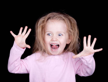 misbehave: A girl having to much fun she is getting excited and getting crazy. Stock Photo
