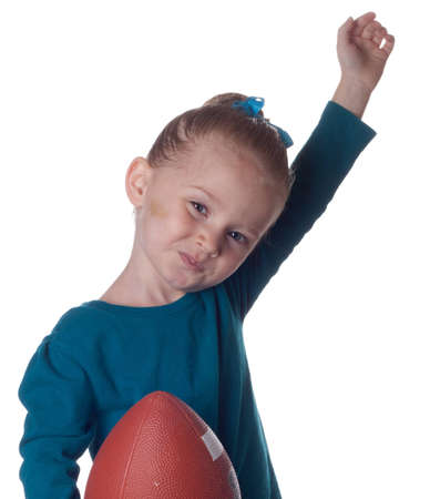 scored: An adorable young child has just scored a touchdown!!!