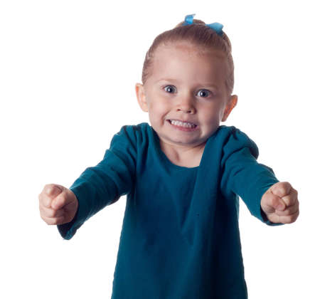 not full: A cute little girl is so full of excitement she can not hold it in. Stock Photo