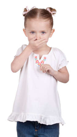 A girl covers her mouth in disbelief Stock Photo - 9373733
