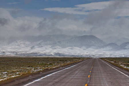 A storm trudges through to the road. photo
