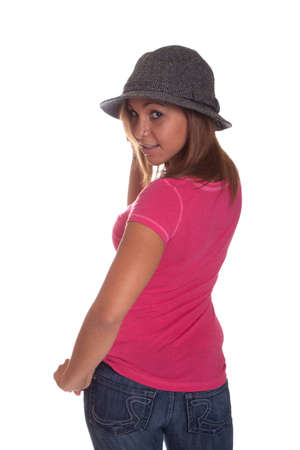 Image of a hispanic girl wearing a hat.  Image is isolated on white. photo