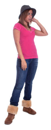 Ganzkörper-Isolierung eines hispanische Mädchen trägt einen Hut und sprach. Standard-Bild - 11006666