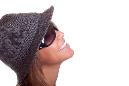 Close up isolated image of a hispanic girl laughing.