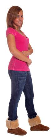 Full body isolation of a hispanic girl.