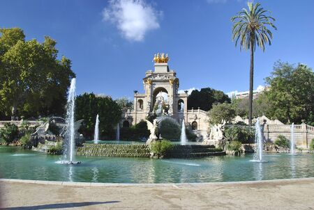 waterworks: Park of Barcelona with waterworks Stock Photo