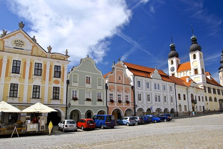 historical buildings: Historical center of Telc - tower, square, historical buildings Editorial