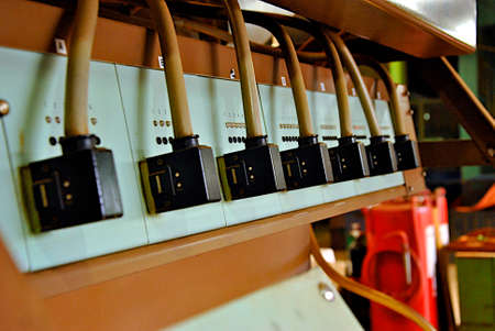 pilot light: Old electronic parts in tea factory Stock Photo