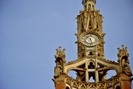 turrets: Detail of clock tower with turrets Stock Photo