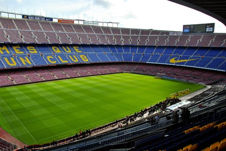 View of the Grandstand of Camp Nou Stadium During stage tour